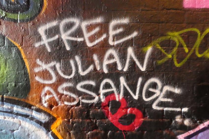 Free Julian Assange graffiti in London March 2020
