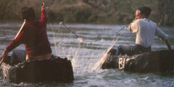 Coracle fishing on the River Teifi. Click on this image to see an example of the Irish pilgrims in their boats.