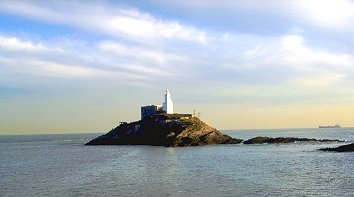Mumbles Head and lighthouse, Swansea, Wales